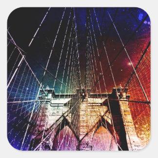 Brooklyn Bridge - Galaxies - NYC Square Sticker