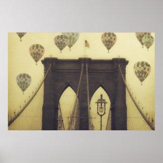 Brooklyn Bridge Hot Air Balloons Poster