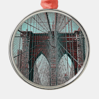 Brooklyn Bridge in NYC Silver-Colored Round Ornament