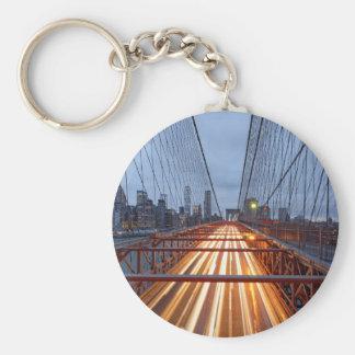 Brooklyn Bridge in the evening Basic Round Button Keychain