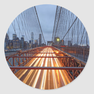 Brooklyn Bridge in the evening Classic Round Sticker