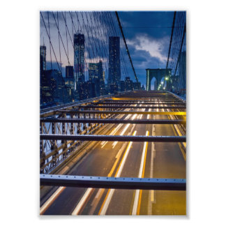 Brooklyn Bridge Lights at Night Photo Print