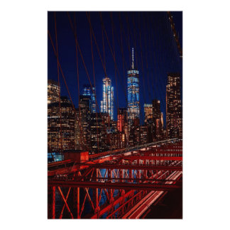Brooklyn Bridge New York City Night Lights Stationery