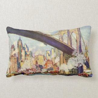 Brooklyn Bridge New York Colorful Artistic Lumbar Pillow