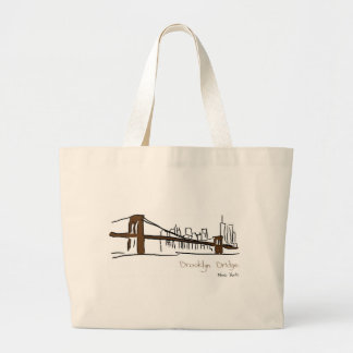 Brooklyn bridge New York illustration with the fea Large Tote Bag