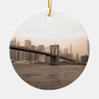 Brooklyn Bridge New York Round Ceramic Ornament