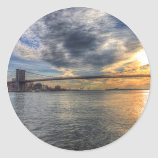 Brooklyn Bridge New York Sunset Classic Round Sticker