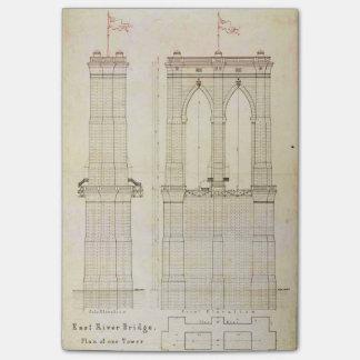 Brooklyn Bridge NYC architecture blueprint vintage Post-it Notes