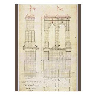 Brooklyn Bridge NYC architecture blueprint vintage Postcard