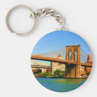 Brooklyn Bridge Painting Basic Round Button Keychain