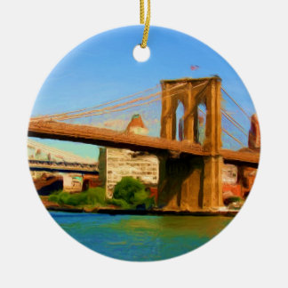 Brooklyn Bridge Painting Ceramic Ornament