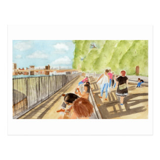 Brooklyn Bridge Park Watercolor Postcard