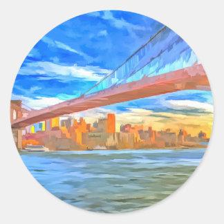 Brooklyn Bridge Pop Art Classic Round Sticker