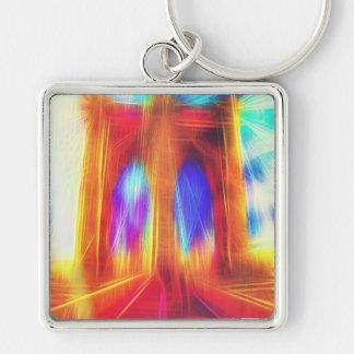 brooklyn-bridge Silver-Colored square keychain