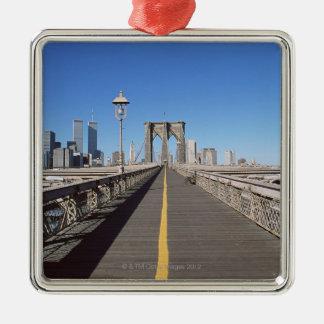 Brooklyn Bridge Silver-Colored Square Ornament