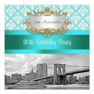 Brooklyn Bridge Turquoise Wht Damask Birthday Card