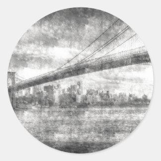 Brooklyn Bridge Vintage Classic Round Sticker