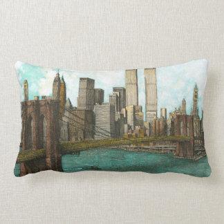 Brooklyn Bridge with Manhattan skyline Lumbar Pillow