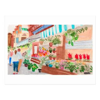 Brooklyn Flower Market Watercolor Postcard