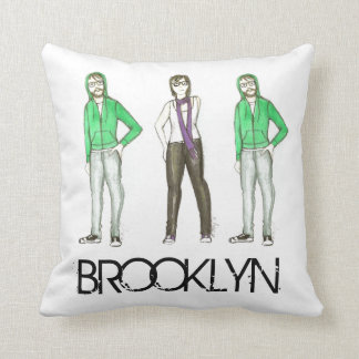Brooklyn Hipsters Greenpoint Williamsburg NYC Throw Pillow