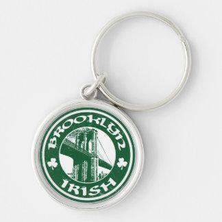 Brooklyn Irish American Keyring Silver-Colored Round Keychain