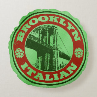 Brooklyn Italian American Round Cushion, New York Round Pillow