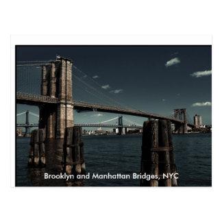 Brooklyn & Manhattan Bridges, Brooklyn and Manh... Postcard