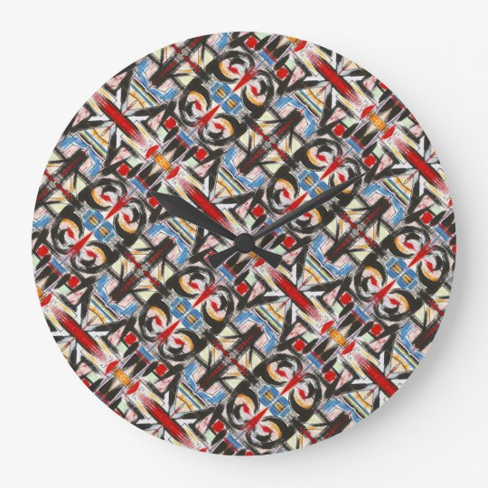 Brooklyn-Modern Brushstrokes Geometric Large Clock