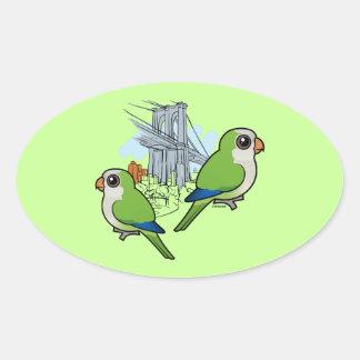 Brooklyn Monk Parakeets Oval Sticker