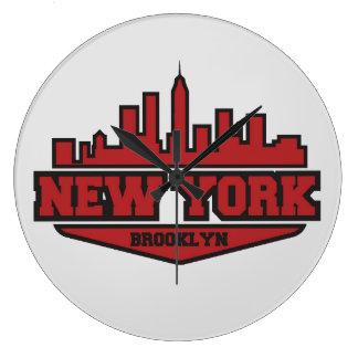 Brooklyn New York | Block Style Script Large Clock