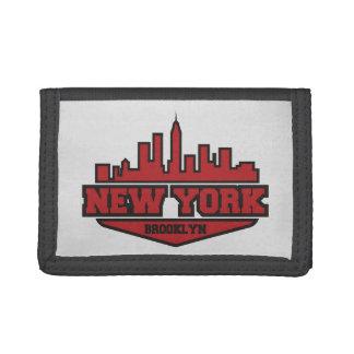 Brooklyn New York   Block Style Script Trifold Wallets