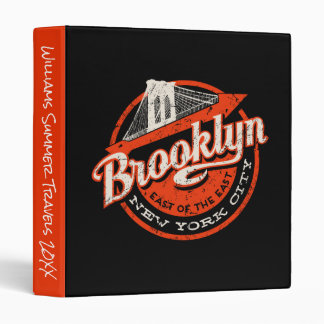 Brooklyn New York City | Retro Typography 3 Ring Binders