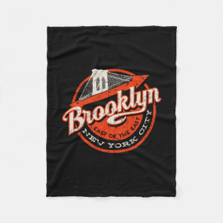 Brooklyn New York City | Retro Typography Fleece Blanket