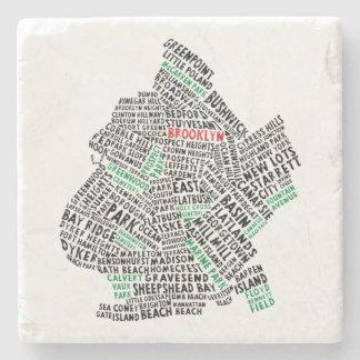 Brooklyn New York City Typography Map Stone Coaster
