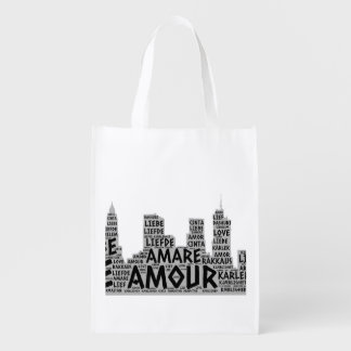 Brooklyn New York illustrated with Love Word Reusable Grocery Bag