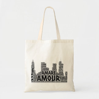 Brooklyn New York illustrated with Love Word Tote Bag