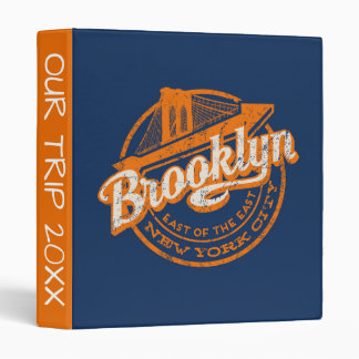 Brooklyn, New York | Retro Vintage Typography 3 Ring Binders