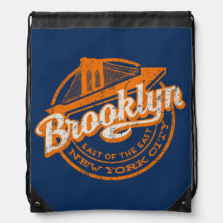 Brooklyn, New York | Retro Vintage Typography Drawstring Bag