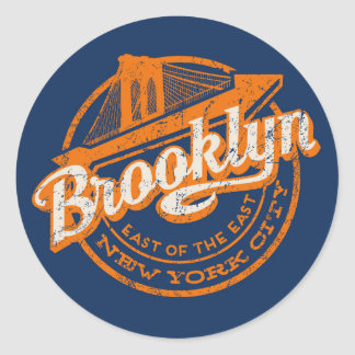 Brooklyn, New York | Retro Vintage Typography Round Sticker