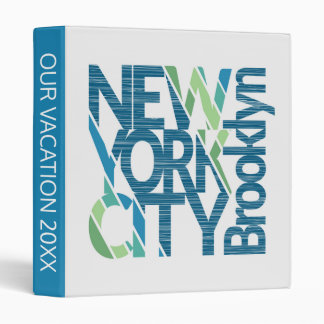 Brooklyn New York Typography 3 Ring Binder