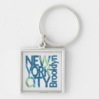 Brooklyn New York Typography Silver-Colored Square Keychain
