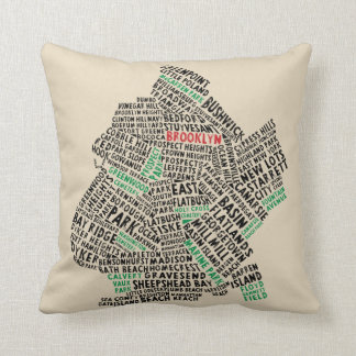 Brooklyn NYC Typography Map Cushion