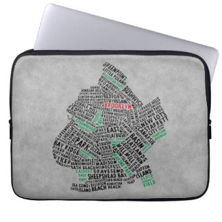 Brooklyn NYC Typography Map Laptop Sleeve