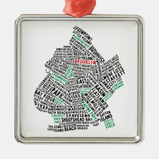 Brooklyn NYC Typography Map Silver-Colored Square Ornament
