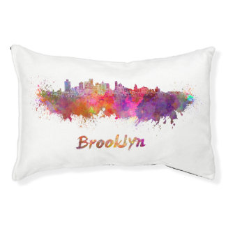Brooklyn skyline in watercolor pet bed