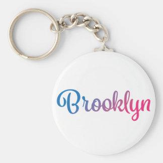 Brooklyn Stylish Cursive Basic Round Button Keychain