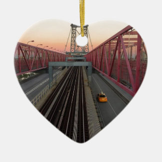 Brooklyn Taxi Ceramic Heart Ornament