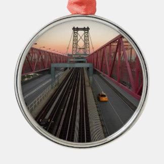 Brooklyn Taxi Silver-Colored Round Ornament