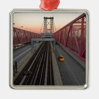 Brooklyn Taxi Silver-Colored Square Ornament