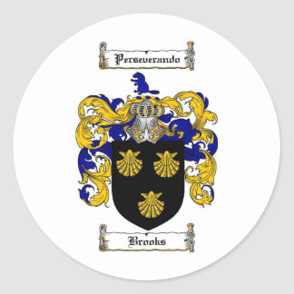 BROOKS FAMILY CREST -  BROOKS COAT OF ARMS ROUND STICKER